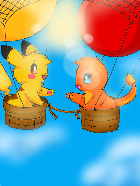 pikachu and charmander- hot air balloons