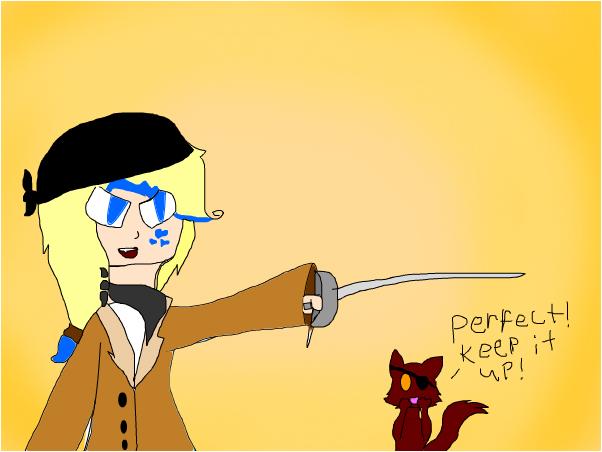 Foxy gives Maya pirate lessons