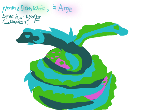 Dewdrop's pet Hydra Dew,Toxic,and Angle