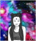 doodle girl in galaxy background