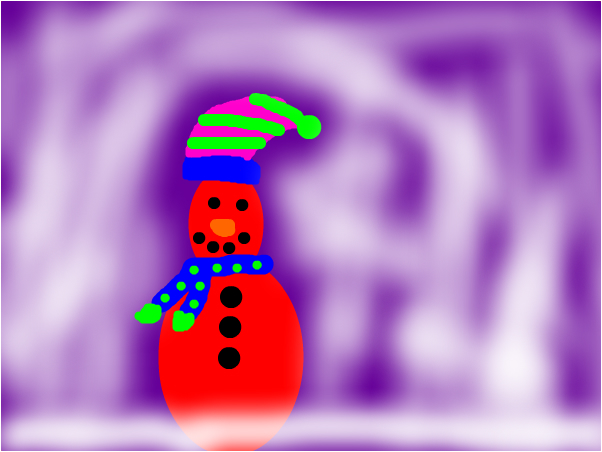 cozy red snowman!