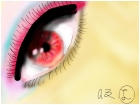eye with waay too much makeup