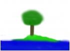Tree On Island, In Lake