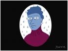 Blue man, rainy day