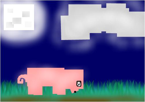 Minecraft night with pig