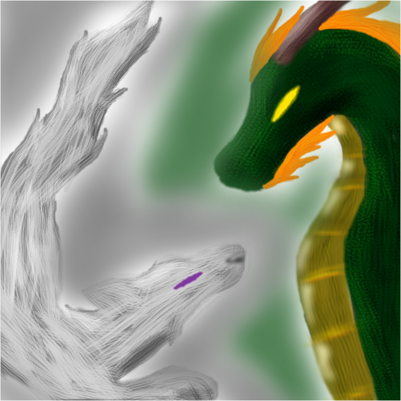 Ancient Dragon and Wolf Spirit