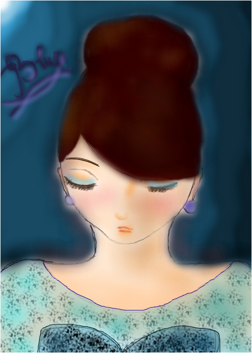 Girl lost in the blue