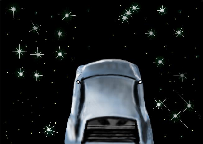 car in space