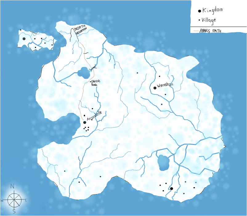 Map of the world of Arondelle