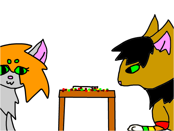 cookie and Eliki eating skittles.