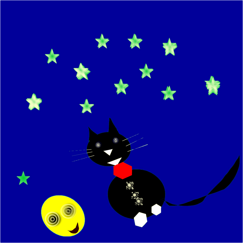 Mog liked to dance on the moon