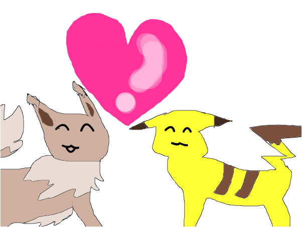 eevee and pikachu in love for bunnyfrogs contest