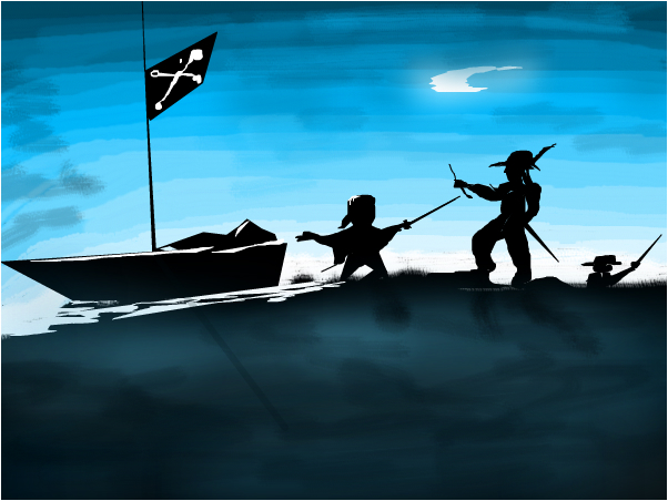 Pirates Fight on the Island