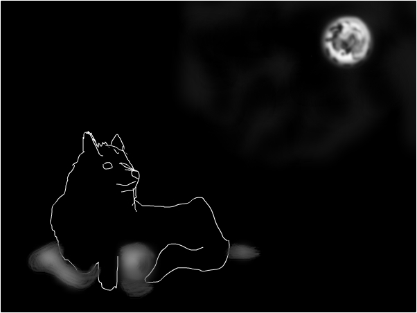 Wolf & moon sketch #FAIL
