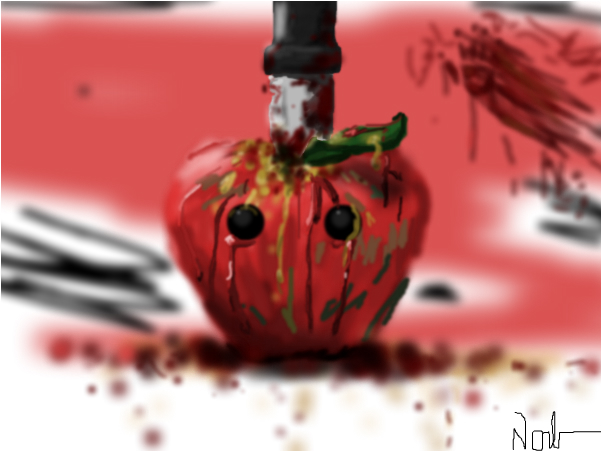 red blood and an apple's sight