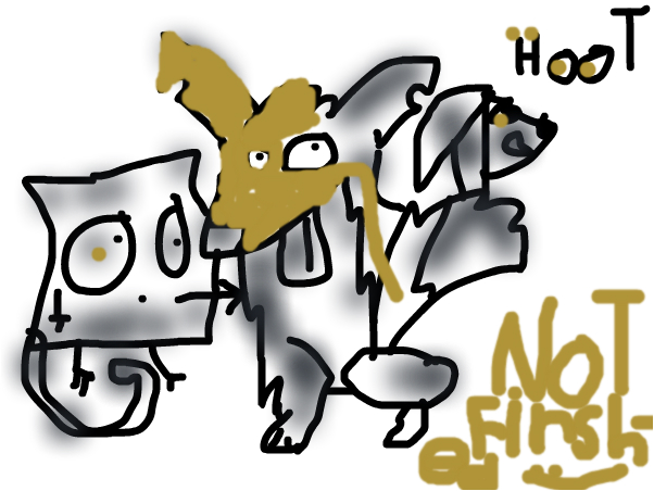 Me, a fox a stick cat and dog head O,O HOOT