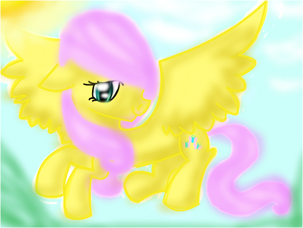 fluttershy soaring through the air