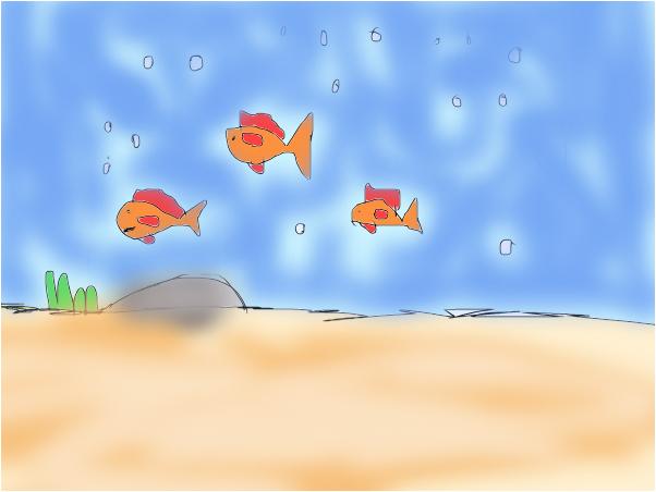 tres peixes nadano