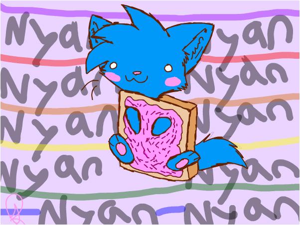 Nom Nom dressed like nyan cat