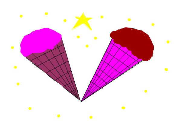 клубничное мороженое и шоколадное мороженое