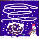 весёлый снеговик с синичкой