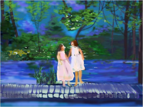 children passsing the river