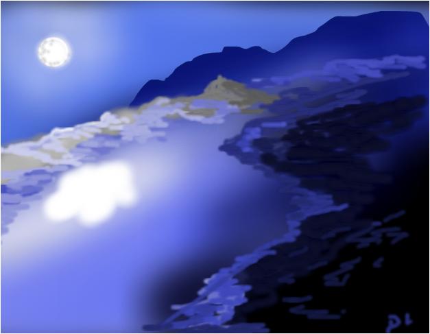 Moon Over a Frozen Lake