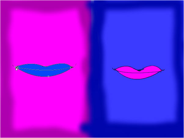 blue and pink lips