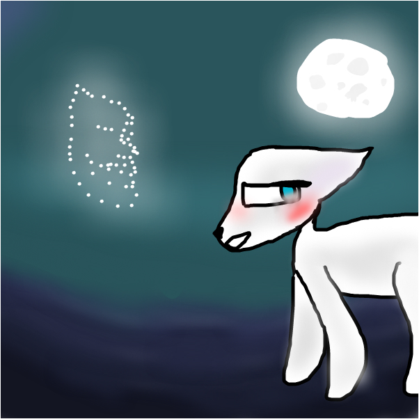 White Cat In The Moon (Of) Light (Remake)
