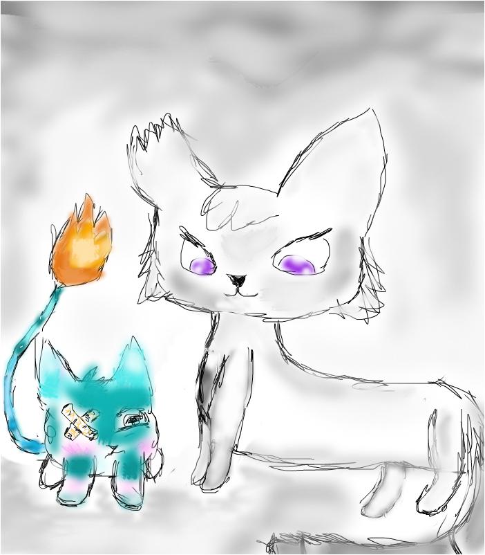 Котейка и огненный котик