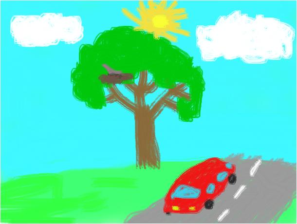 Дерево возле дороги