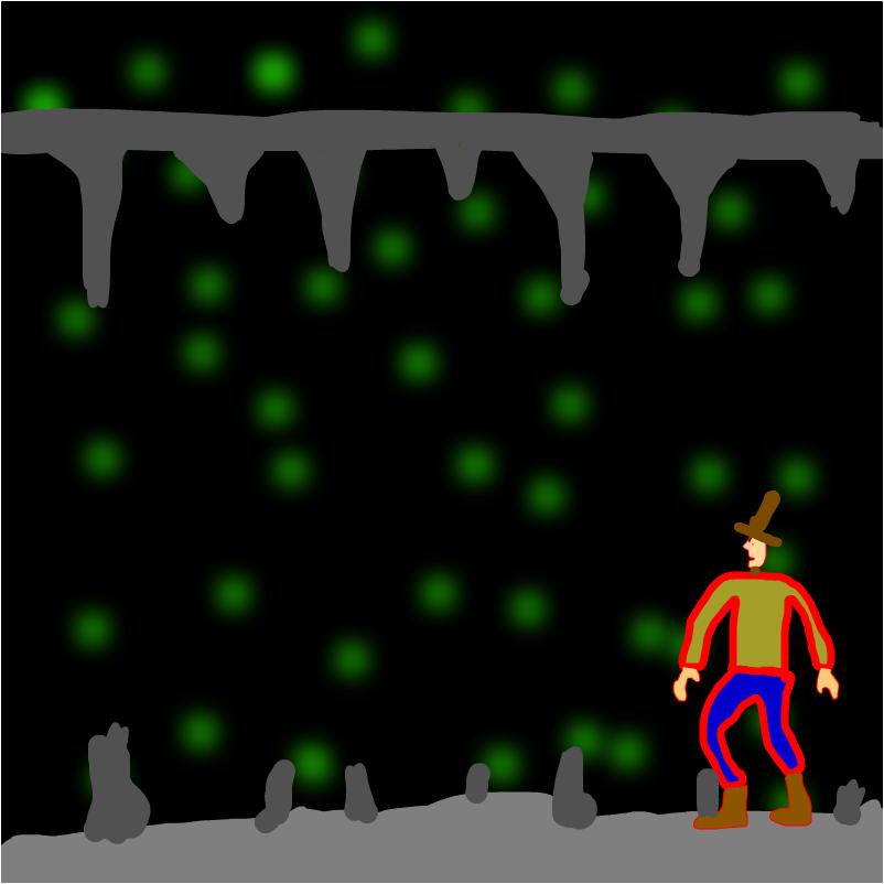 зелёные пятна в пещере