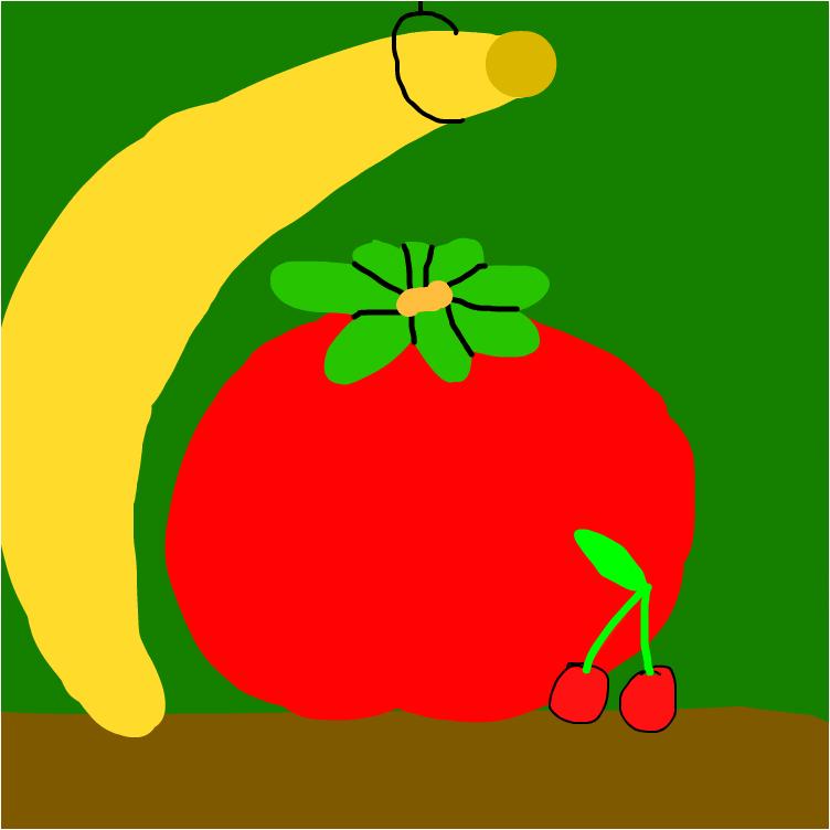 помидор, вишенки и банан