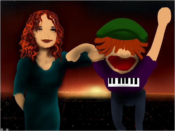 Tori and Mr Puppet Head