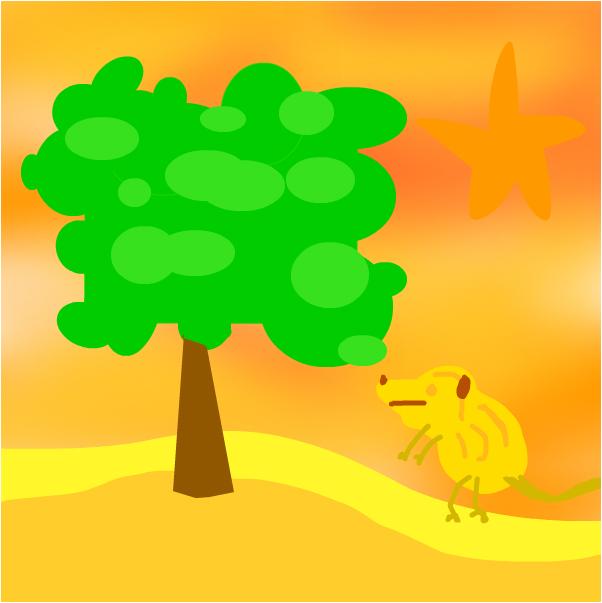ДЕрево в пустыне И тушкан
