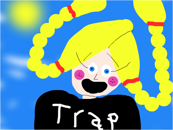 a girl with pigtails in black trap!