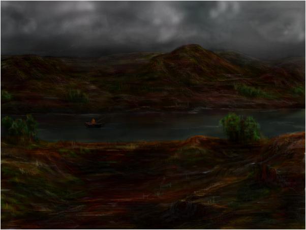Stormy desert fishing