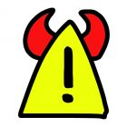 exclamation mark. with horns. red.