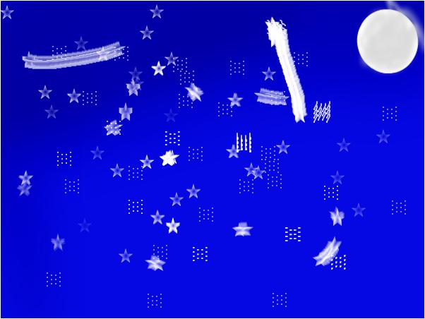 Ночной пейзаж звёзд и луны.
